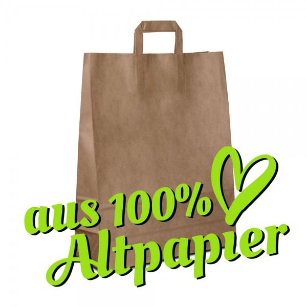 Papiertüten 32+12x40 Recyclingpapier Braun, Flachhenkel, Recycling Taschen