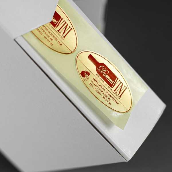 Prägeetiketten oval 30x20 mm | ovale Etiketten mit elegantem Heißfolienprägedruck