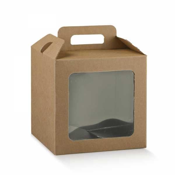 Geschenk Box Bio mit Fenster, Kraft braun, 7 Größen