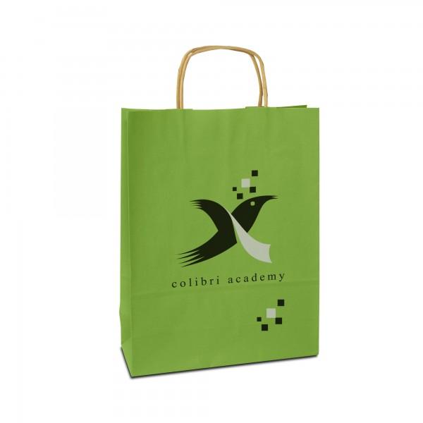 Papiertüten bedrucken, hellgrün, in 3 Größen - mit Logo