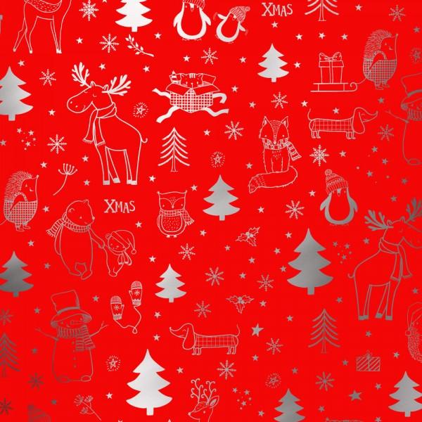 Geschenkpapierrolle Weihnachten Weihnachtswelt metallic-rot silber