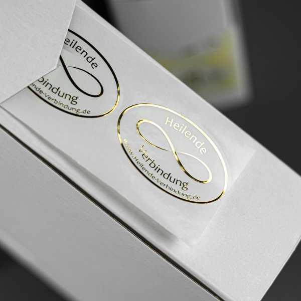 Prägeetiketten oval 40x30 mm | ovale Etiketten mit elegantem Heißfolienprägedruck