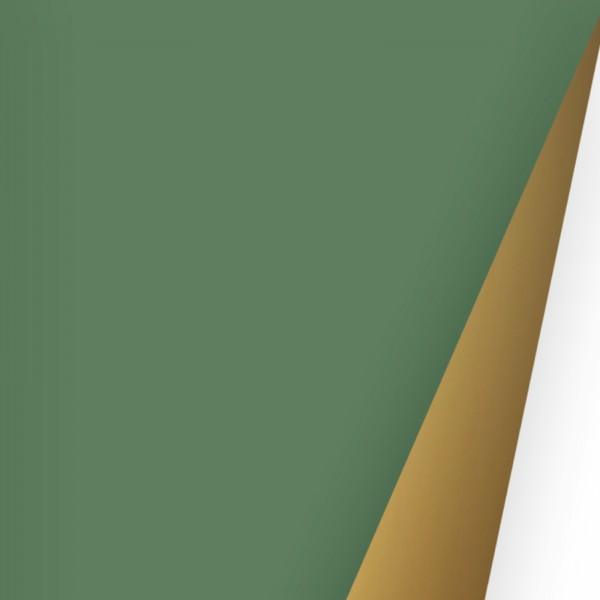 Geschenkpapierrolle einfarbig Glanz grün uni mit goldenem Rücken uni