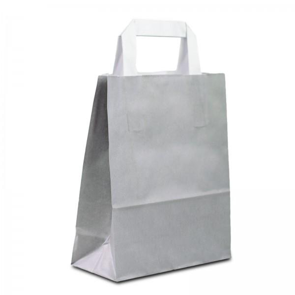 Papiertüten Grau mit Flachhenkel, in 2 Größen