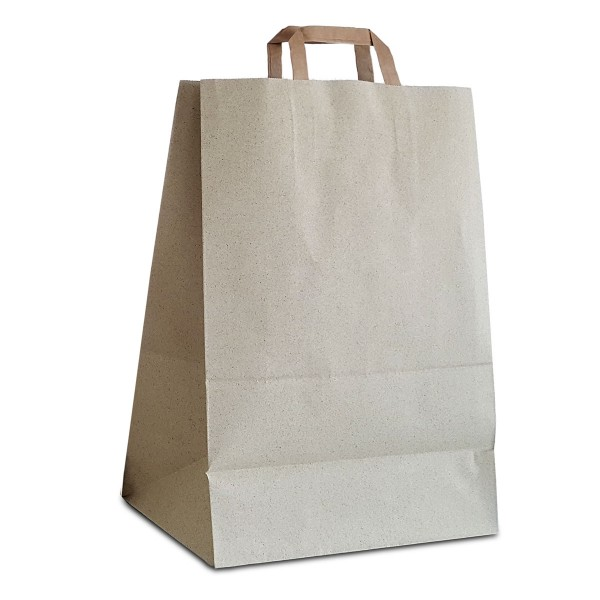 FSC Graspapier Tüten 32x18x44 cm | 100% recycelbare Papiertaschen aus Graspapier