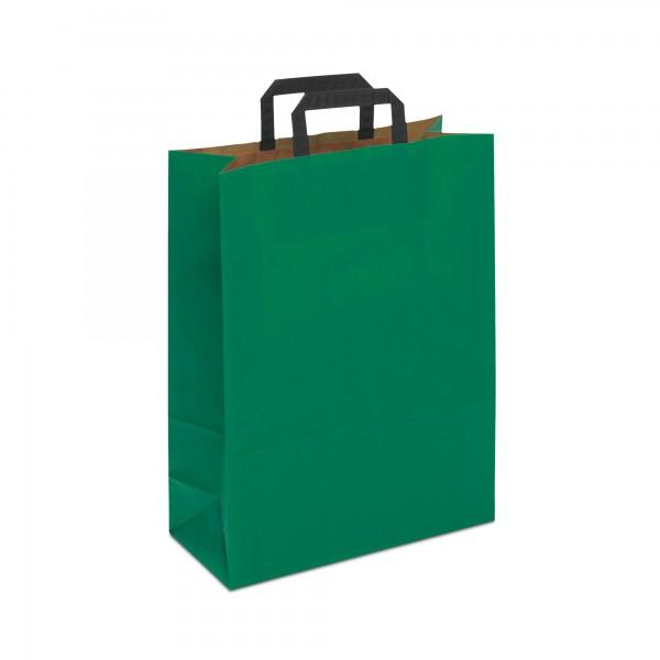 Papiertüten Grün, mit Flachhenkel, in 3 Größen