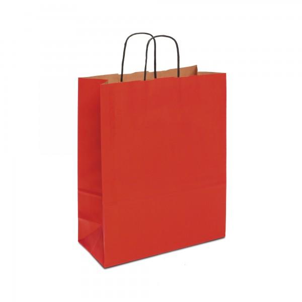 Papiertüten Rot, mit Kordelhenkel, in 4 Größen