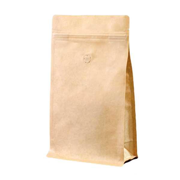 Bodenbeutel Boxpouch braun 3-lagig ohne Alu, Aromaschutzventil, Druckverschluß, versch.Größen