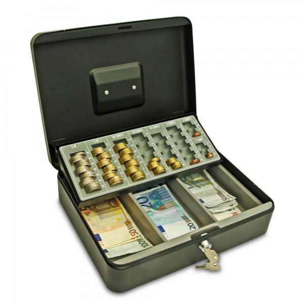 Geldkassette 30cm, anthrazit, mit Münzzählbrett