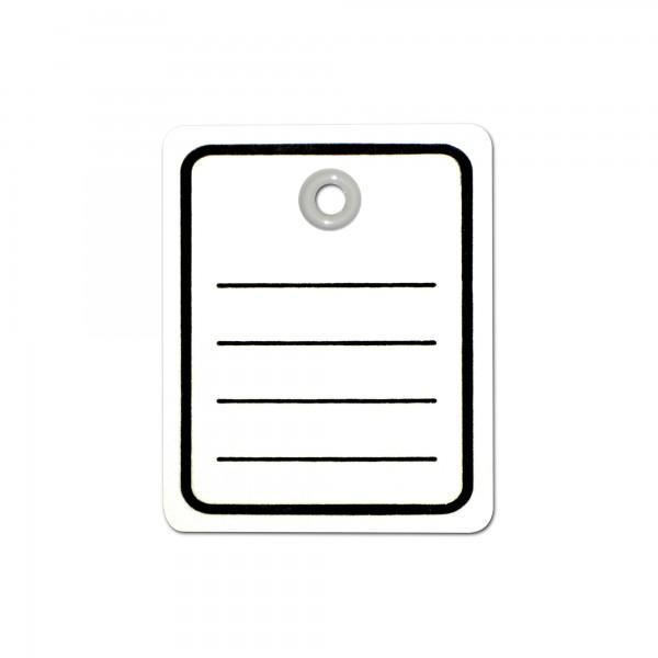 Kartonetiketten mit Öse 40x50 mm, einzeln, Druck: Liniert