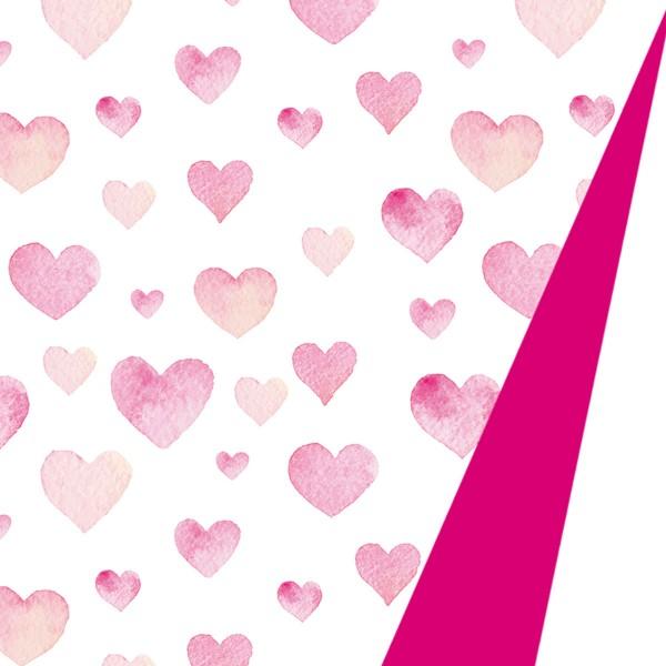 Geschenkpapierrolle Herzen pink auf weißem Grund - Rücken pink
