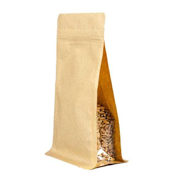 Bodenbeutel Boxpouch braun ohne Alu mit Seitenfalte, Druckverschluß, versch. Größen
