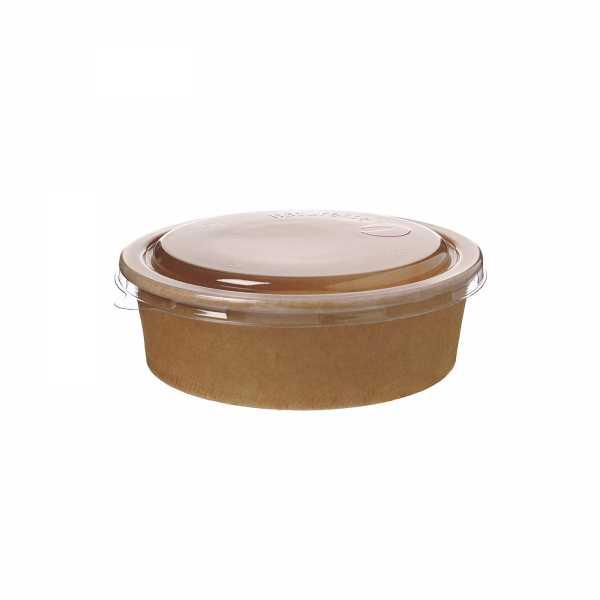 Salatschale braun 1000 ml inkl. Flachdeckel aus PLA 185 mm