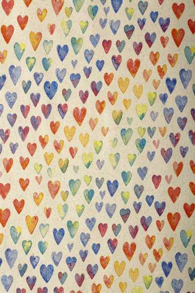 Geschenkpapierrolle Design Graspapier Herzen bunt