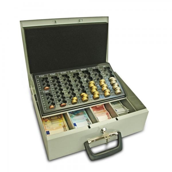 Geldkassette 35cm, Profi-Line, grau, mit Münzzählbrett