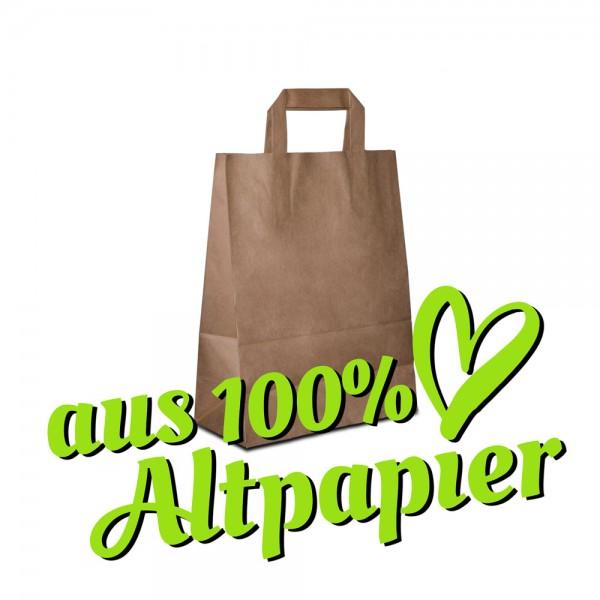 Papiertüten Recyclingpapier Braun, Flachhenkel, Recycling Taschen