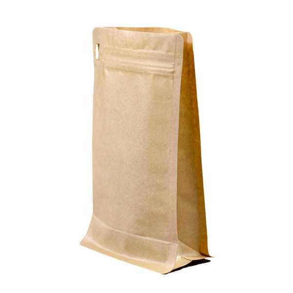 Bodenbeutel Boxpouch braun ohne Alu, Frontzipper, Druckverschluß, versch. Größen