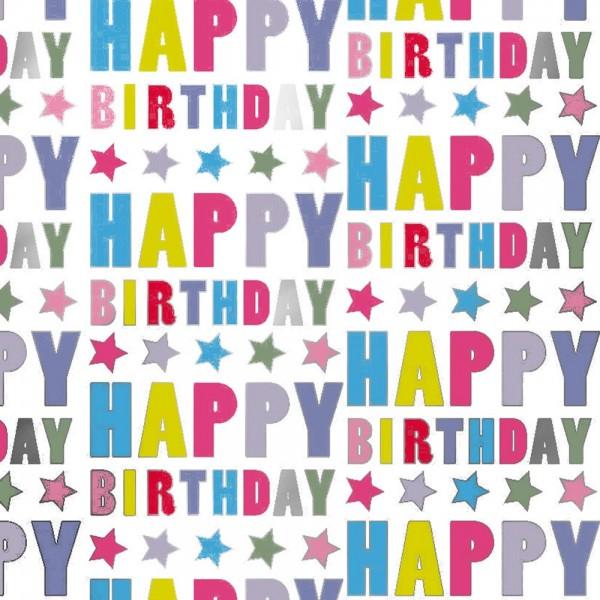 Geschenkpapierrolle Geburtstag Happy Birthday glanz