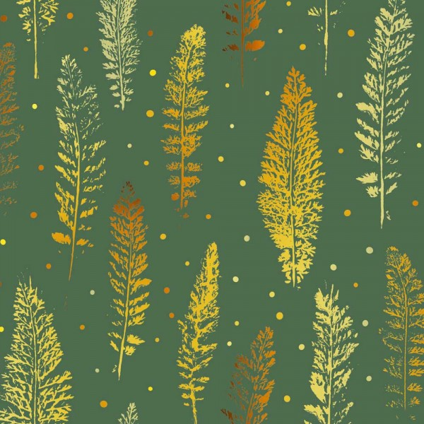 Geschenkpapierrolle grün mit goldenem Farn