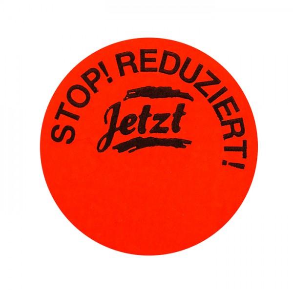 runde Etiketten 32mm, Druck: Stop Reduziert Jetzt, permanent