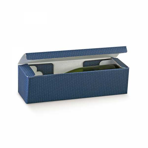 Weinkarton Punkte blau, 3 Größen