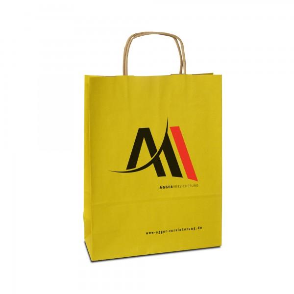 Papiertüten bedrucken, gelb, in 3 Größen - mit Logo