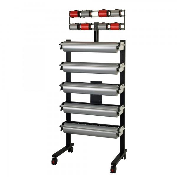 MULTI-ZAC Ständer, fahrbar, komplett 5 Papier/Folienabroller + 8 Bandabroller