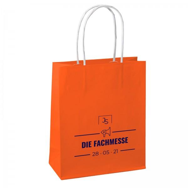 COMFORT Papiertüten orange bedruckt mit Logo