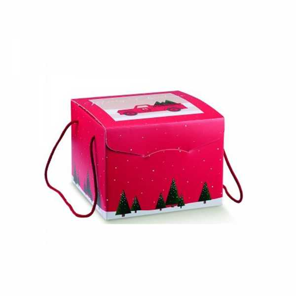 Geschenkkarton Weihnachten mit Bindekordel, Dekor Pick Up rot, 2 Größen