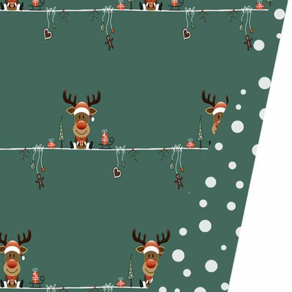Geschenkpapierrolle Kinder Weihnachten Elch, grün beidseitig
