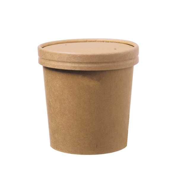 Suppen Becher to-go Becher braun inkl. Deckel in zwei Größen