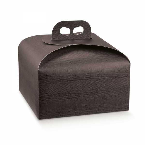Tortenkarton Panettone Geschenk Box mit Griff, Lederoptik, braun, 2 Größen