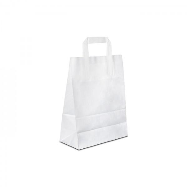 Papiertüten Weiss glatt, mit Flachhenkel, in 8 Größen