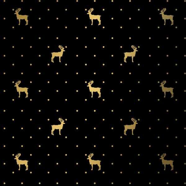 Geschenkpapierrolle Weihnachten schwarz mit Hirsch gold