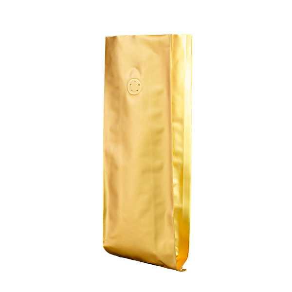 Seitenfaltenbeutel gold - ohne Zipper - mit Aromaventil in versch. Größen