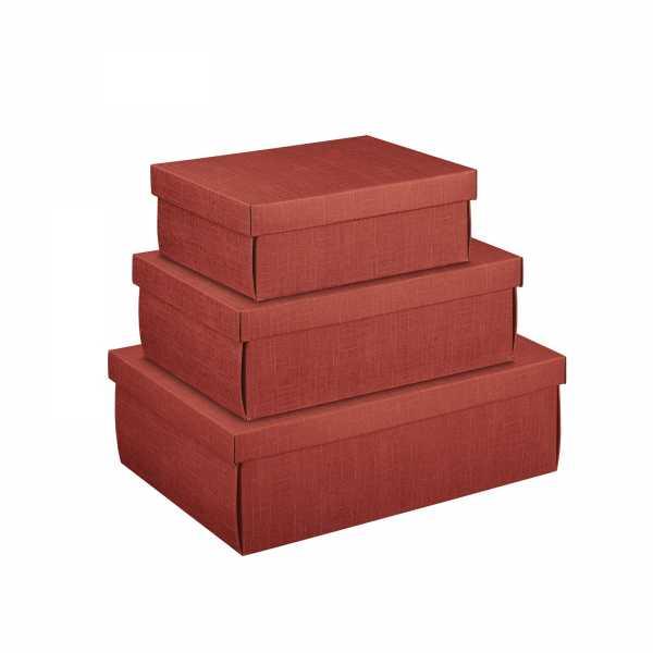 Geschenkkarton mit Deckel, bordeaux Leinenstruktur, 3 Größen