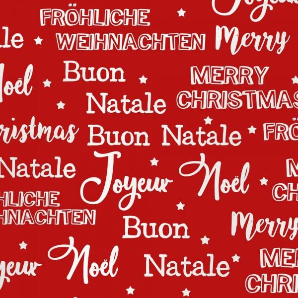 """Geschenkpapierrolle Weihnachten """"Fröhliche Weihnachten"""" metallic-rot weiss"""