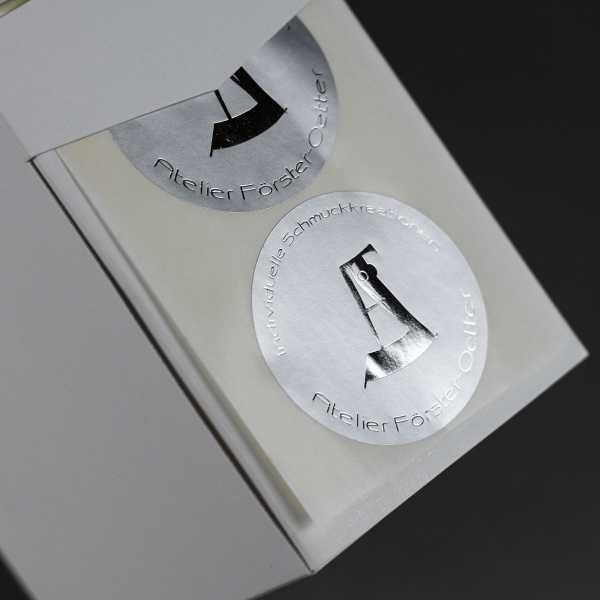 Prägeetiketten rund 40 mm | runde Etiketten mit elegantem Heißfolienprägedruck