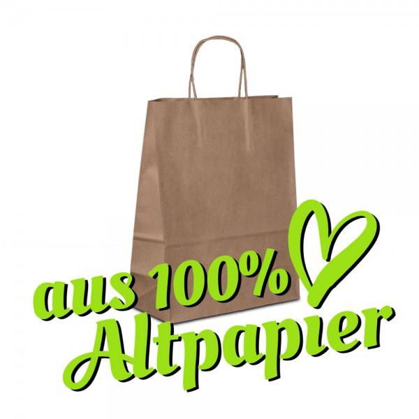 Papiertüten 22+10x28 Recyclingpapier Braun, Papierkordel, Recycling Taschen