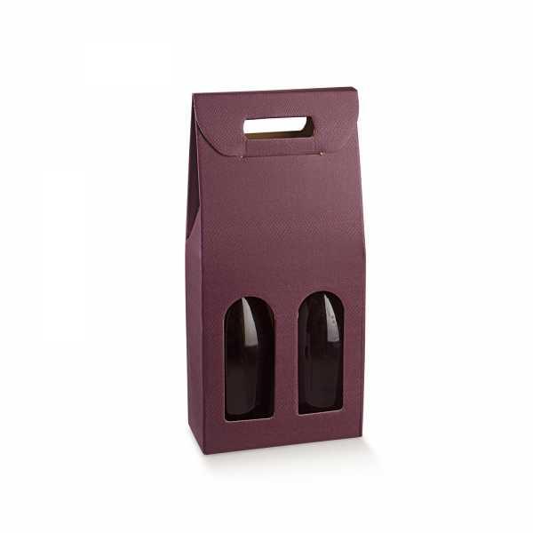 Wein Geschenk Tragekarton Champagner Skin aubergine, 2 Größen