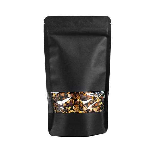 Standbodenbeutel - Doypack schwarz ohne Alu mit Druckverschluß, Sichtstreifen, versch. Größen