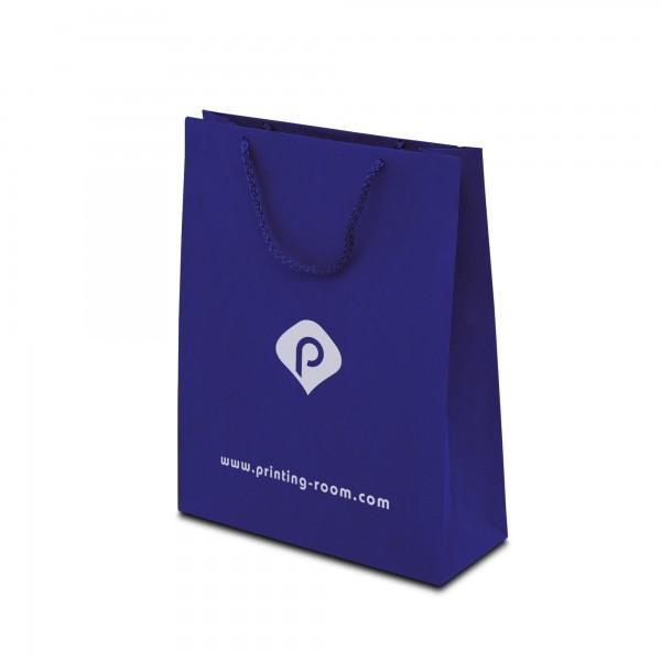 Papiertaschen ECO-PRESTIGE, navy-blau, in 3 Größen - bedruckt