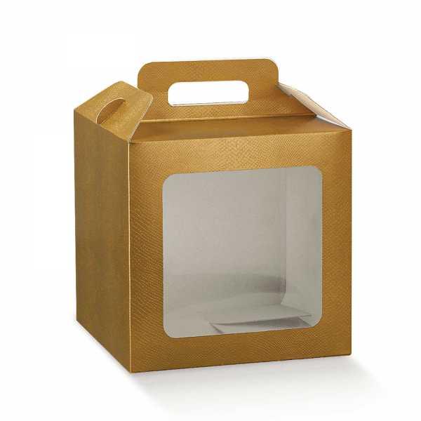 Geschenk Box Bio mit Fenster, Skin gold, 7 Größen