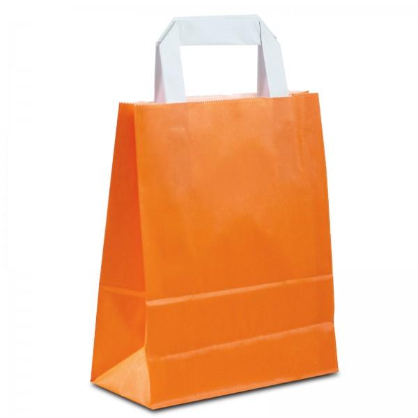 Papiertüten Orange mit Flachhenkel, in 2 Größen