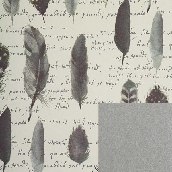 Geschenkpapierrolle Design Federn doppelseitig