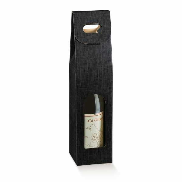 Wein Geschenk Tragekarton Leinenstruktur schwarz, 3 Größen