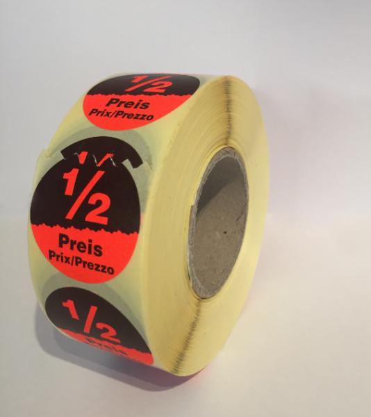 Runde Etiketten 32mm, Druck: Halber-Preis Sonderdruck, permanent