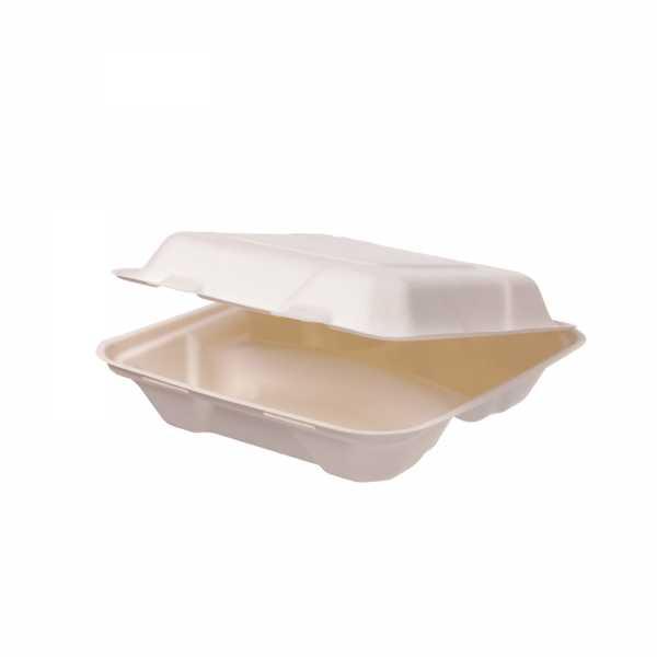Menübox aus Bagasse 3-geteilt, 3 Größen