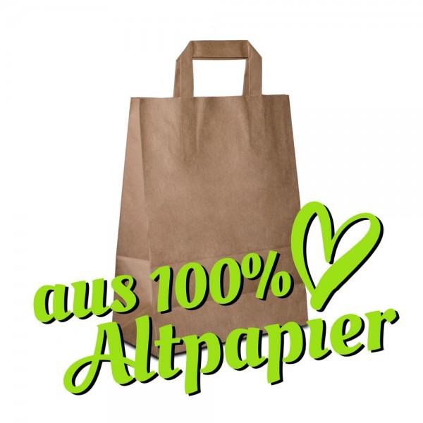 Papiertüten 26+12x35 Recyclingpapier Braun, Flachhenkel, Recycling Taschen