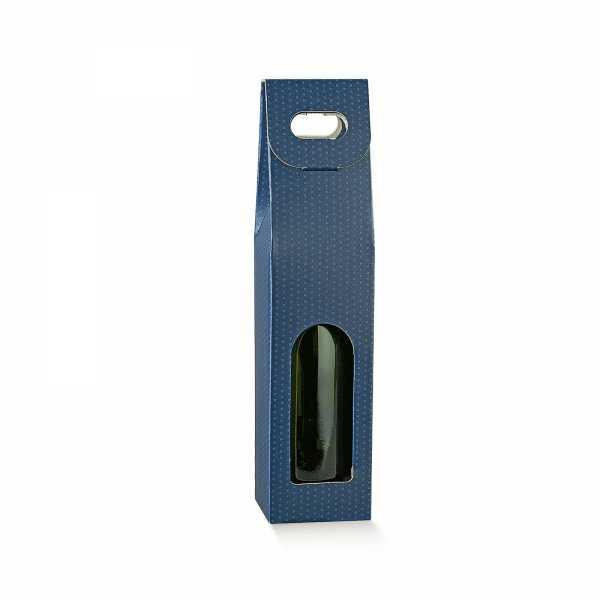 Wein Geschenk Tragekarton Punkte blau, 3 Größen